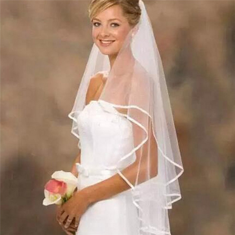 Simple Short Tulle Two Layer Wedding Veils With Comb White Ivory Bridal Veil voile for Bride for Mariage Wedding Accessories