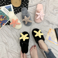 Fashion Women Slippers Home Indoor Plush Slippers Female Flat Shoes Ladies Comfortable Soft Fur Slides Chaussure Femme Starfish