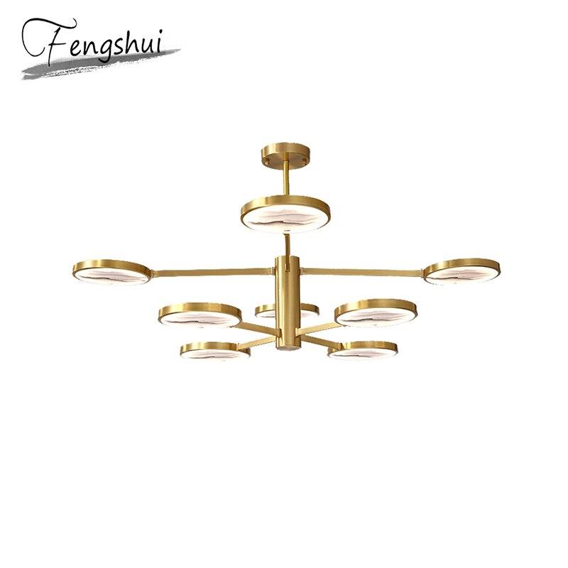 Chinese Style Copper Pendant Lights Lamp LED Pendant Lighting Living Room Dining Room Bedside Bedroom Loft Decor Hanging Lamp