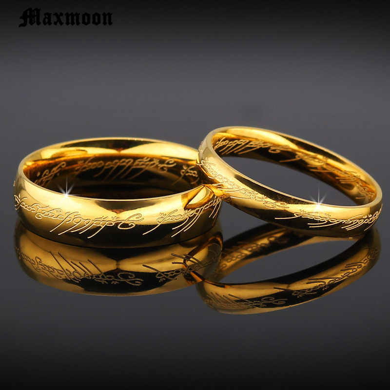 Maxmoon wedding rings Magic Letter The Lord of One Ring Black Silver Gold Titanium Stainless Steel Ring for Men Women Lovers