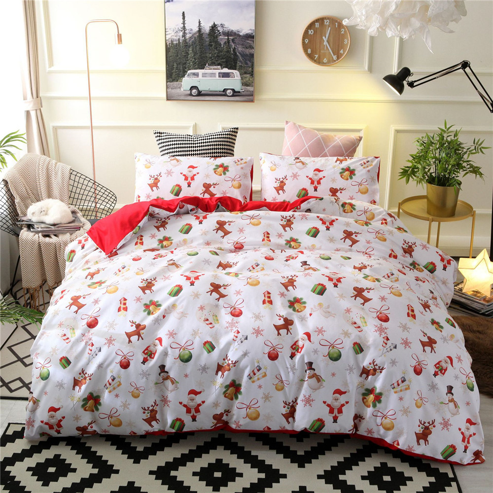 3pcs Santa Claus Bedding Sets Comfortable Duvet Cover Pillow Cases Twin Full Queen King Size Home Textiles For Kids
