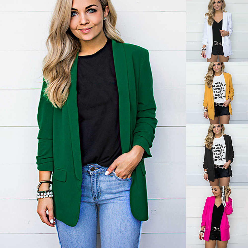 Monerffi Blazer Wanita Kantor Jas Kerja Solid Plus Ukuran Lengan Panjang Blazer Kasual Slim Jaket Mantel Mujer Blazer Femme