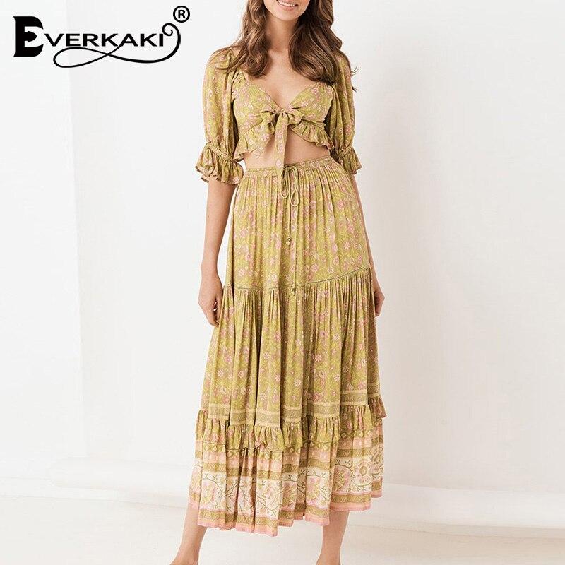 Everkaki Boho Floral Print Long Skirt Women Tassels Sashes Elastic Waist Gypsy Summer Ladies Long Skirts Female 2019 Autumn New