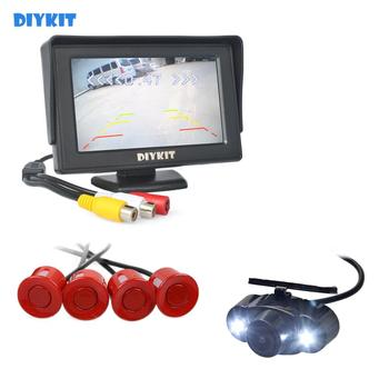 DIYKIT 4.3 Inch Rear View Car Monitor Kit + 4 Parking Radar + LED Night Vision Car Camera Parking Assistance Video Parking Radar
