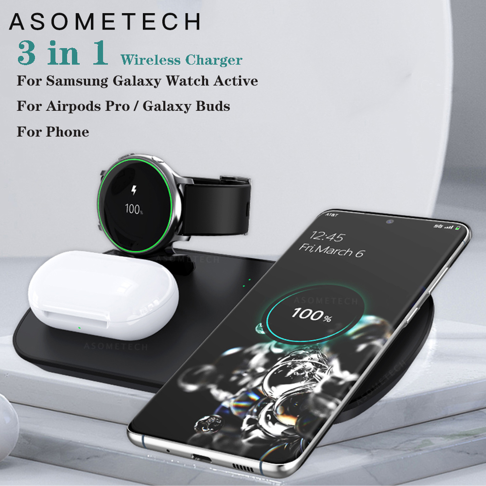 3 in 1 QI Wireless Charger For Samsung Watch Galaxy Buds Earphone 10W Fast Wireless Charging Pad Station For Samsung S10 Plus