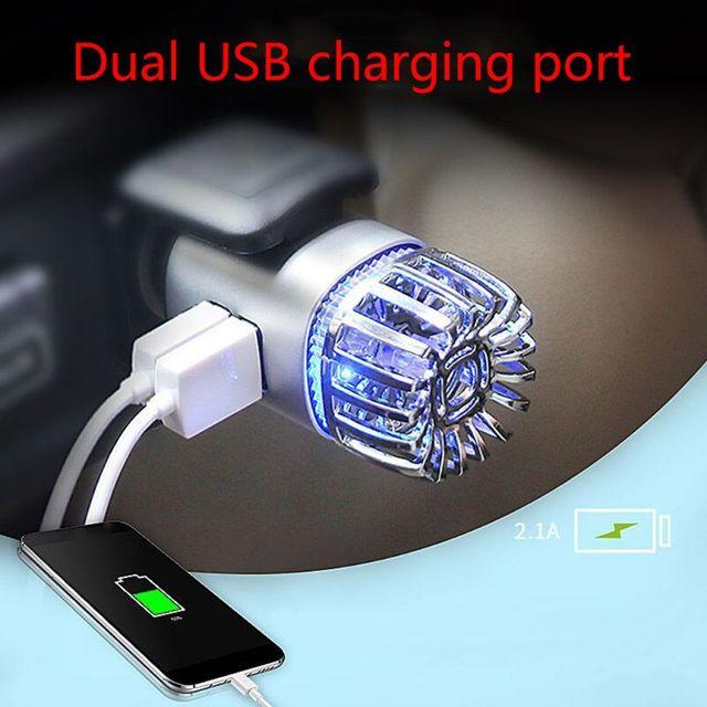 2 in 1 Car Dual USB Fresh Air Ionic Purifier Oxygen Bar Ozone Ionizer Cleaner L9BC 2