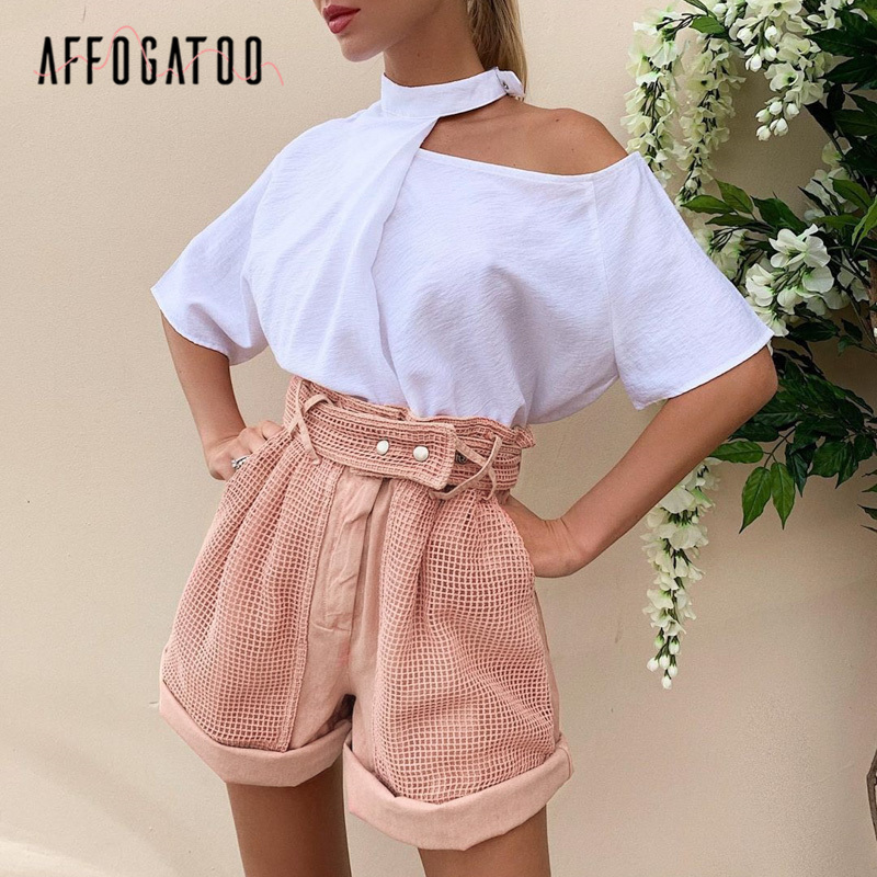 Affogatoo Casual Summer Pink Shorts Women Elegant Hollow Out Spring Shorts Vintage Party Fashion Holiday Ladies Bottom Shorts