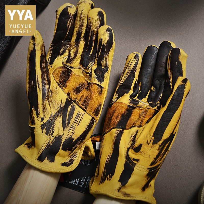 Motorcycle Biker Men Winter Sheepskin Genuine Leather Gloves Warm Full Leather Driving Guantes Mujer Retro Yellow Riding Mittens