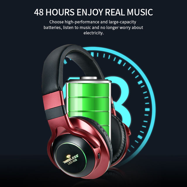 LED Light Wireless Bluetooth Headphones 3D Stereo Earphone  With Mic Headset Support TF Card FM Mode Audio Jack 4
