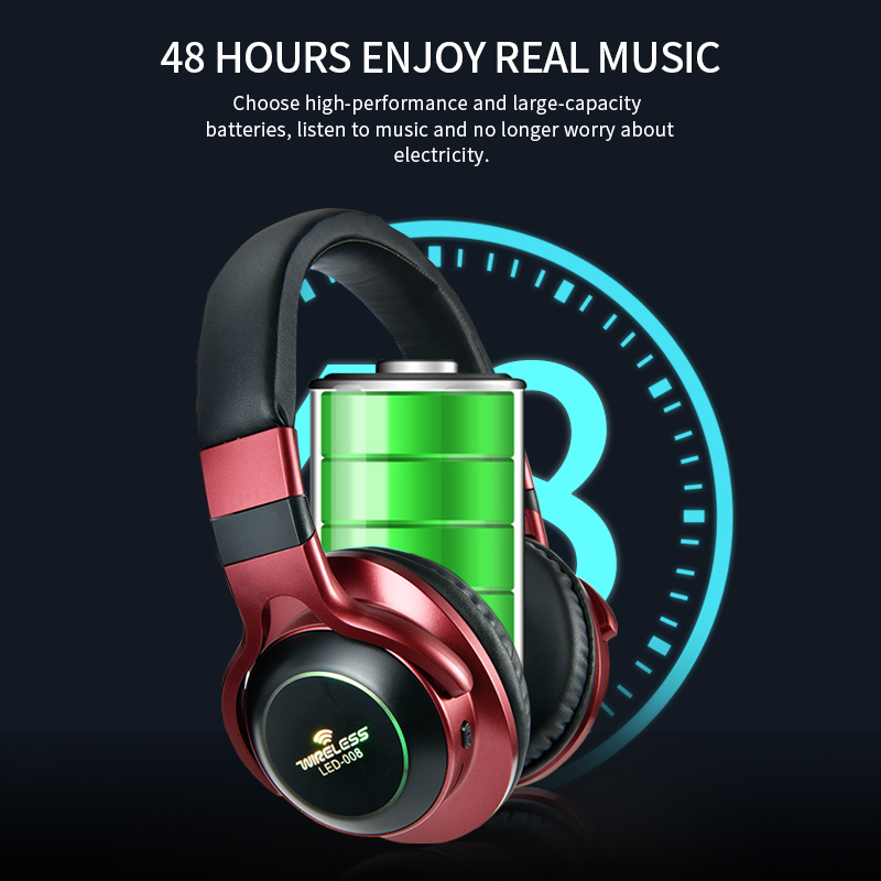 Image 4 - LED Light Wireless Bluetooth Headphones 3D Stereo Earphone  With Mic Headset Support TF Card FM Mode Audio JackBluetooth Earphones & Headphones   -