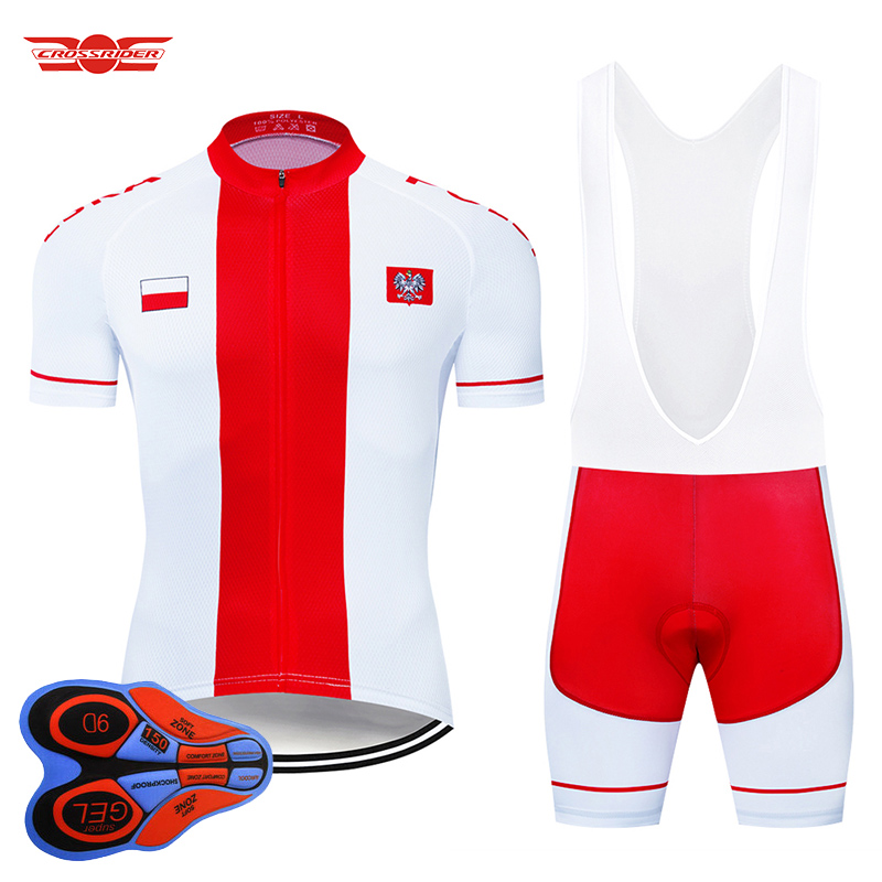 2021 Team Poland Cycling Clothing MTB Mountain bike Clothing Men's Short Set Ropa Ciclismo Bicycle Wear Clothes Maillot Culotte