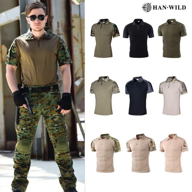 HAN WILD Military Army T-Shirt Men Short Sleeve Camouflage Tactical Shirt Hunt Combat Multicam Camo Short Sleeve T Shirt