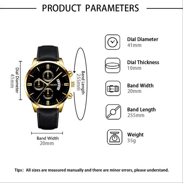 Gentleman  Business Gold Leather Strap Wrist Watches  1