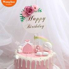 Bloem Gelukkige Verjaardag Cake Topper Moederdag Taart Decoraties Kids Birthday Cake Benodigdheden Baby Shower Cupcake Topper