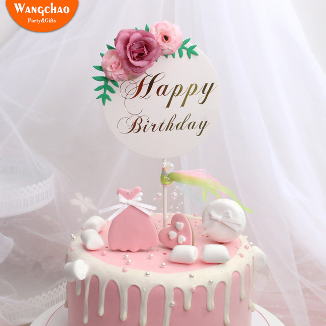 Flower Happy Birthday Cake Topper Mothers Day Cake Decorations Kids Birthday Cake Supplies Baby Shower Cupcake Topper