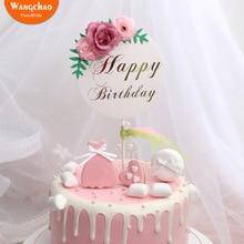 Çiçek mutlu doğum günü pastası Topper anneler günü kek süslemeleri çocuklar doğum günü kek malzemeleri bebek duş kek Topper