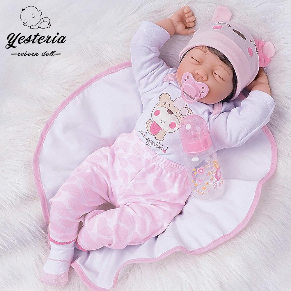 55cm Schlaf Reborn Bebe Puppe Mädchen Spielzeug Jungen Geburtstag Geschenke für Kinder Playmate Silikon Vinyl Nette Rosa Outfit mit schöne Hut
