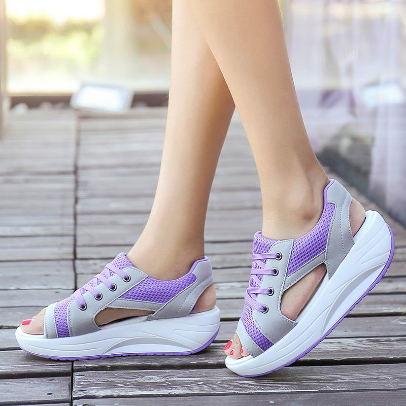 Wedges Summer Casual Shoes Women Sneakers 2019 Lace-up Breathable Mesh Platform Shoes Woman Sneakers Zapatos De Mujer