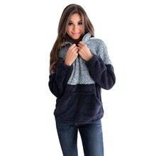 Liva girl 2019 Winter Women Furry Fleece Sweatshirts Long Sleeve Stand Collar Zipper Pullovers Fur Coat
