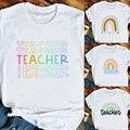 Женская футболка с радужным принтом, Повседневная футболка с рисунком, женская футболка в стиле Харадзюку, белая футболка с изображением уч...