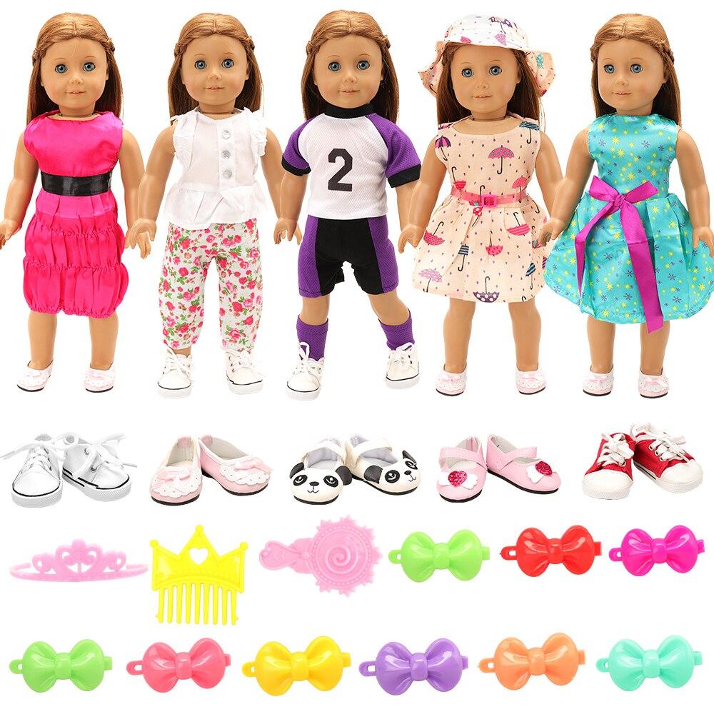 Newest Fashion Handmade 12 doll items/lot=5 dolls dress + 2 Dolls Shoes +5 Accessories 43 cm for 18 inch baby dolls DIY Birthday