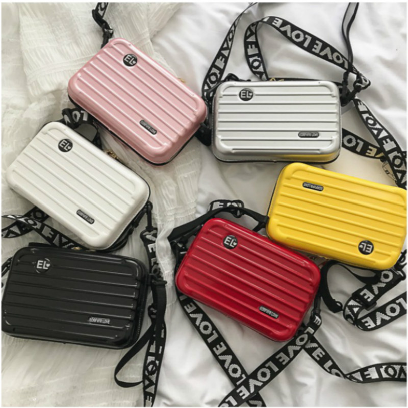 Women Mini Suitcase Shape Crossbody Bag Fashion High Quality Small Shoulder Bag With Wide Letter Strap Girl Clutch Handbag
