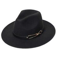 Шляпа Зимняя Фетровая шляпы Женская Фетровая Шляпа Fedora, зимние шляпы с широкими полями, осенняя мода, женская имитация шерсти, мужская фетровая шляпа
