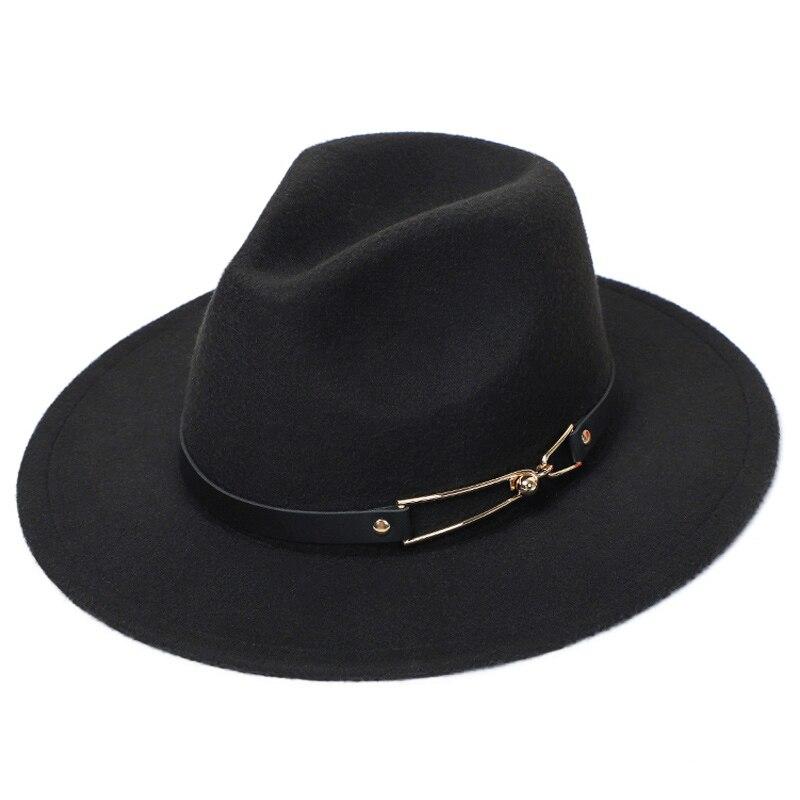 Womens Felt Hat Fedora Winter Wide Brim Hats Autumn Fashion Church Womens Imitation Wool Mens Felt Hat