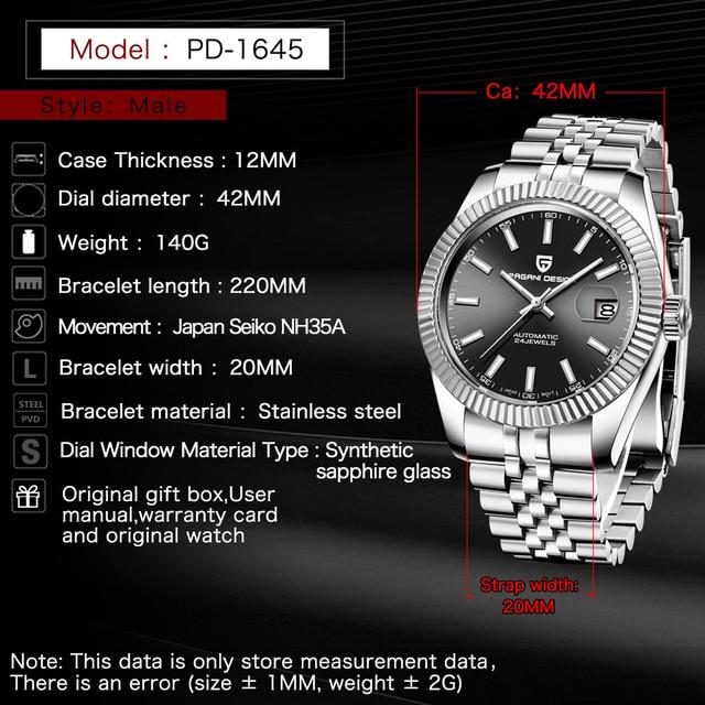 PAGANI DESIGN Men Mechanical Watch Top Brand Luxury Automatic Watch Sport Stainless Steel Waterproof Watch Men relogio masculino 2