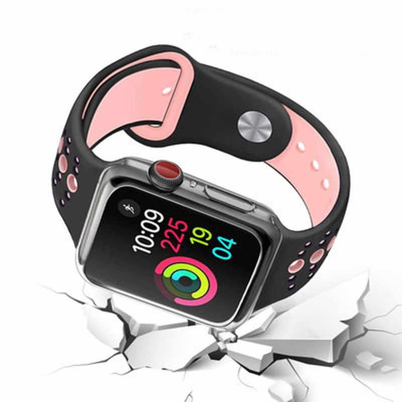 Funda transparente para Apple Watch Series 3 2 1 38MM 42MM 360 TPU claro y suave Protector de pantalla para iWatch 4/5 44MM 40MM