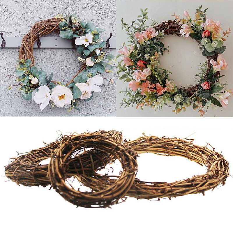 WEIGAO 10-30cm DIY Home Decor Natural Rattan Wreath Easter Wreath Crafts Easter Decorations Christmas Wedding Wreaths Ramadan