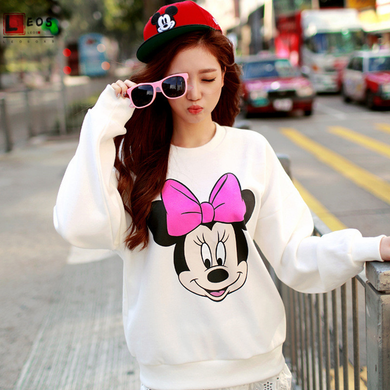 Mickey Print Women Sweatshirts Cartoon Minnie Hoodies For Girl Thin Long Sleeve Casual Loose Couples Wear Fashion Lady Pullover