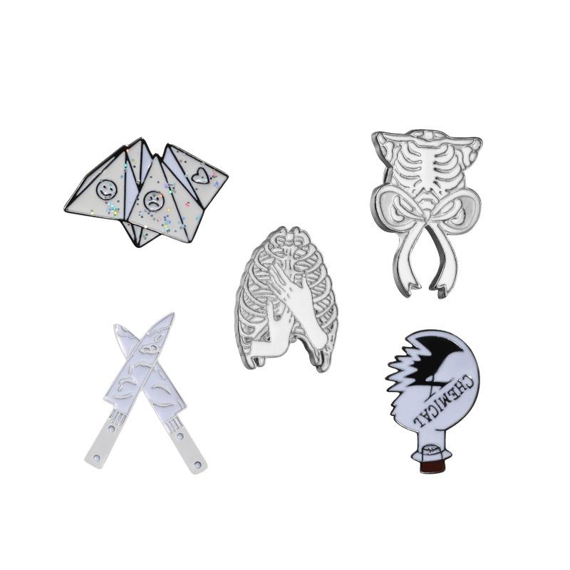 Creative Rib Cage Enamel Pins Bow Rib Cage Mood Origami Knife Chemical Bulb Brooch Skeleton Skull Badge Lapel Pins Punk Jewelry