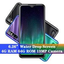A50 celulares quad core smartphones face id desbloqueado 4 grama 64g rom 13mp lcd 19:9 6.26