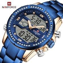 NAVIFORCE Luxury Sport Men's Wrist Watch Digital Waterproof Blue Diamond Quartz Chronograph Watches Clock Male Relogio Masculino