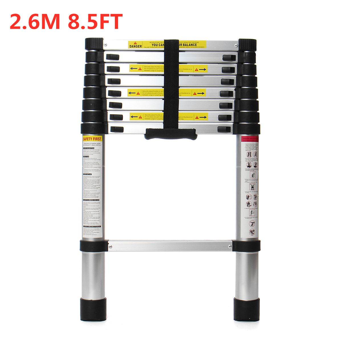 8.5Ft 2.6m Aluminium Telescopic Ladder Multi-Purpose Telescoping Ladders Folding Single Extension Step With Locking Tool