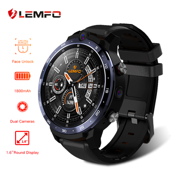LEMFO LEM12 1.6 Inch HD Display 4G Smart Watch Android 3GB 32GB Face ID Unlock Dual Camera Men Strap Replaceable