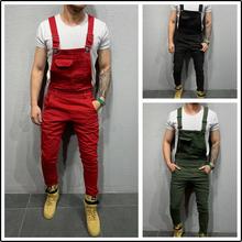 Męskie ogólnie rzecz biorąc czysta 3 kolor mężczyźni pajacyki Denim kombinezony mężczyźni Streetwear Jeans pajacyki Plus rozmiar tanie tanio COTTON Poliester Na co dzień Zipper fly Kostki długości spodnie Mieszkanie Midweight Pełnej długości REGULAR