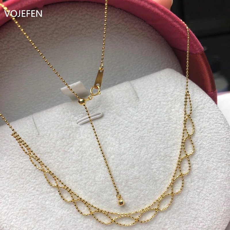 VOJEFEN AU750 Real Gold Necklace Jewelry Retro Handmade Craft Lace Royal Choker Necklace 18k 'Flower Lace' Necklace For Women 2