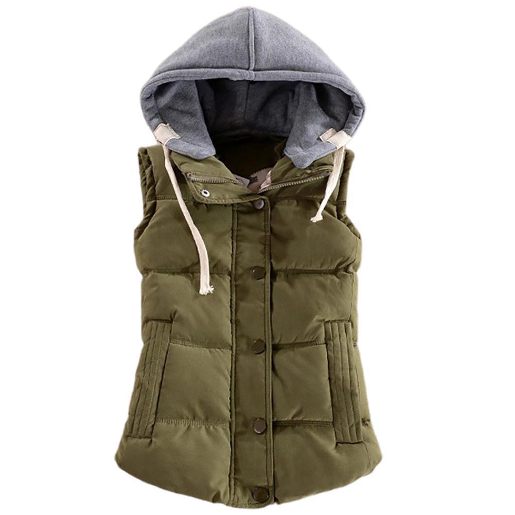 Women Autumn Winter Warm Down Vest Zip Button Pocket Removable Hooded Waistcoat