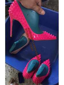 ALMUDENA Dress Pumps Shoes Heels Rivets 10-12cm stiletto Pink Black Pointed-Toe Size45