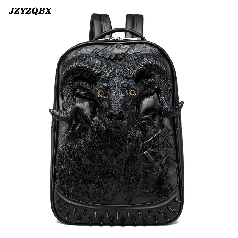 3D Stereoscopic Silicone Cow Head Backpack Mens Personality Rivets mochila Black Waterproof PU Leather Travel plecak