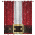 Gold  Red Belt Buckle Christmas Santa Celebration Blackout Window Curtains Living Room Curtain Rod Kitchen Drapes Fabric Indoor|Curtains| |  -