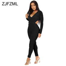 цена на Waist Band Cut Out Sexy Pleated Jumpsuit Women V Neck Full Sleeve Bandage Overall Autumn Winter High Waist Backless Party Romper