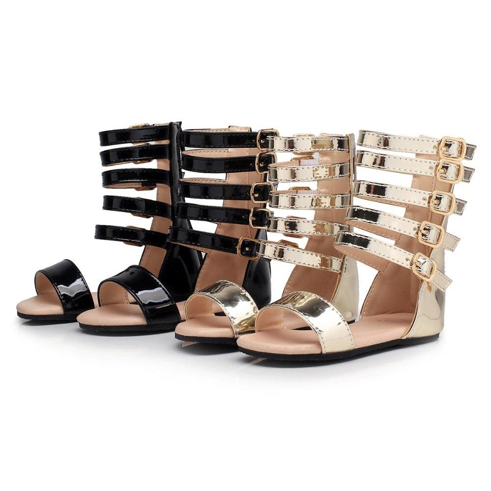 Children Roman Shoes Littlesummer Baby Girls Princess Gladiator Sandals Shoes Kids Leather High Top Little Girl Fashion Sandals
