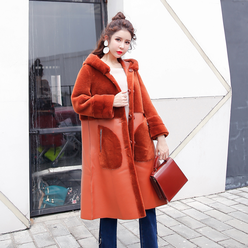Real Long Fur Coat Women Clothes 2020 Wool Jacket Two Side Wear Korean Luxury Leather Jacket Manteau Femme Hiver KJ994