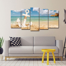 5 Panels Modern Wall Art Canvas Painting Anchor with Starfish on Sandy Beach Summer Holiday Concept Seascape Print Poster
