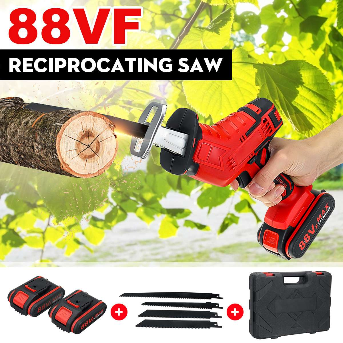 Doersupp 88V Cordless Reciprocating Saw Wood/Metal Cutting Saw Saber Saw Portable Electric Saw Rechargeable Lithium Battery Tool