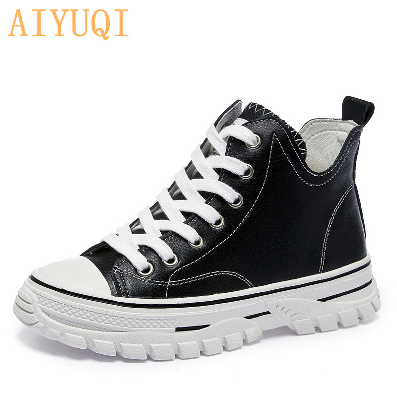 AIYUQI Sneakers Woman Flat Women Shoes 2019 Autumn New  Casual White Lace Up Trendy Vulcanized Genuine Leather Ladies Footwear