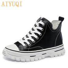 Sneakers Woman Autumn Genuine-Leather Vulcanized Ladies Footwear Flat White New Casual